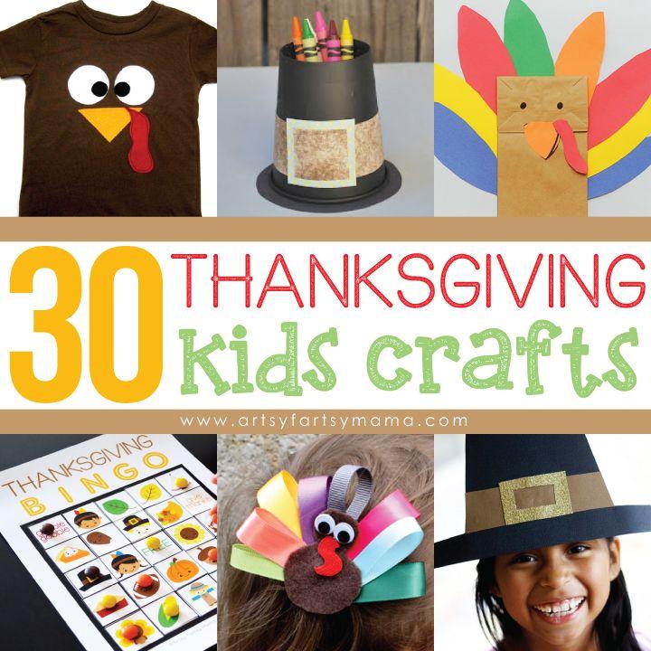 30 Thanksgiving Kids Crafts at artsyfartsymama.com #thanksgiving #kidscrafts #kids