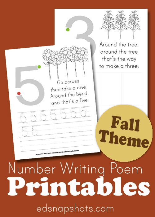 Preschool math and kindergarten math resource. Help kids learn to write numbers with these fall activities. Math printables with numbers, poems, and space for practice.