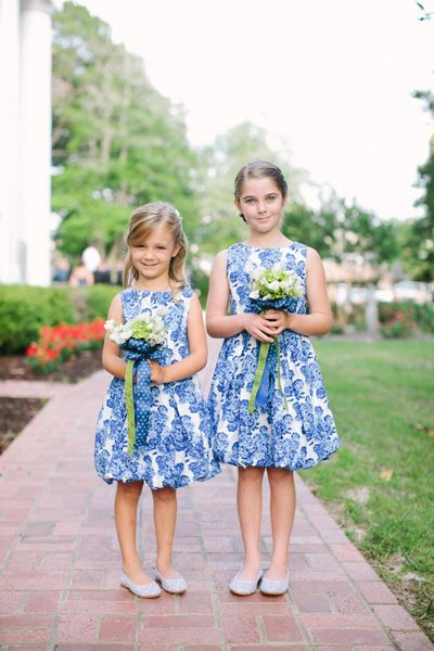 patterned flower girl dresses | Ashley Seawell #wedding