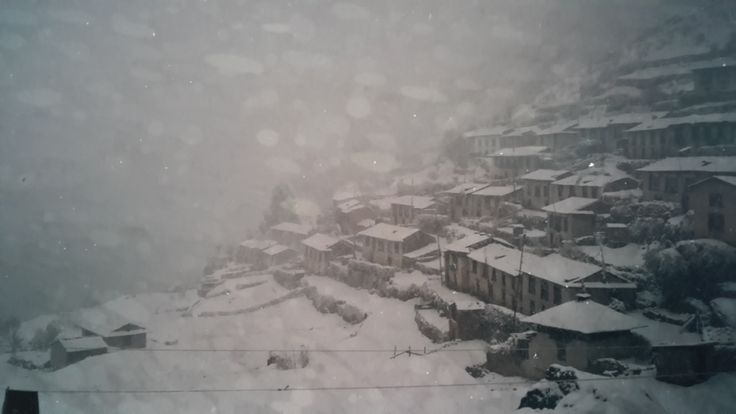 Namche Bazaar in the Everest Region during the snow storm of 1986 which subsequently killed a number of trekkers...