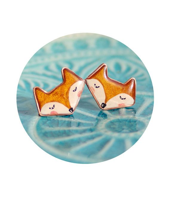 Fox stud earrings kawaii fox jewelry red orange by CloverPower