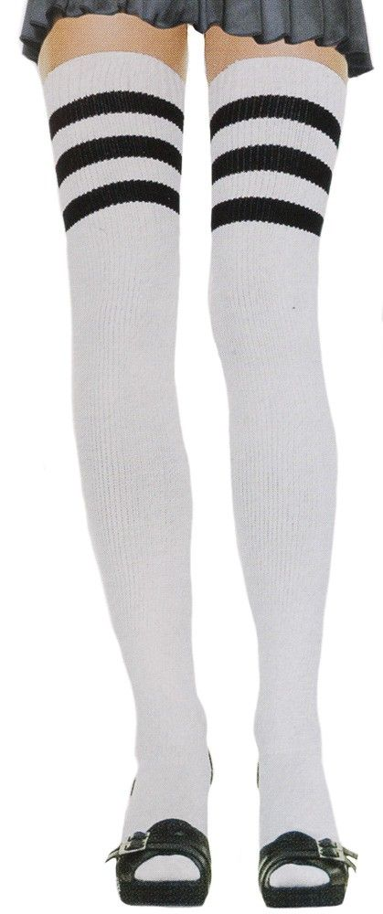 ATHLETIC THIGH HIGH SOCKS WHT/BLK Oops you did it again! You forgot to buy some adorable thigh high athletic socks and now you need these to make your life complete. No worries these white thigh high socks feature three black stripes, are ribbed from top to bottom, and have elastic bands to keep them in place. $10.00 #socks #thighhigh