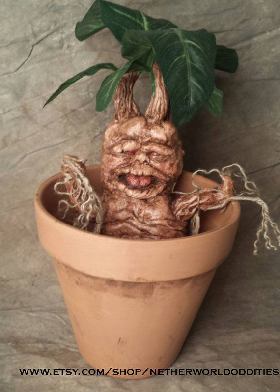 Large Harry Potter inspired mandrake in pot by netherworldoddities