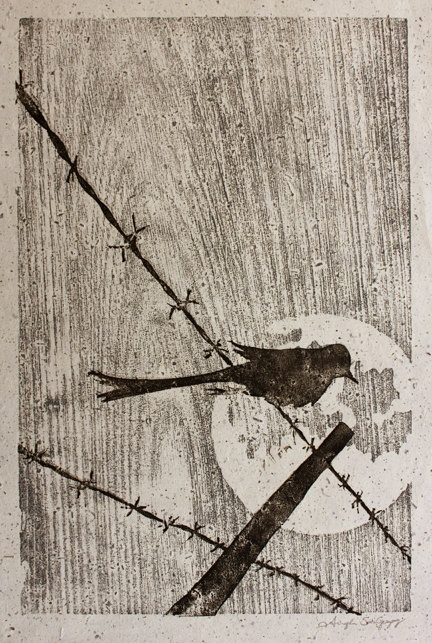 Bird on Barbed Wire Linocut/Woodblock Print. $65.00, via Etsy.