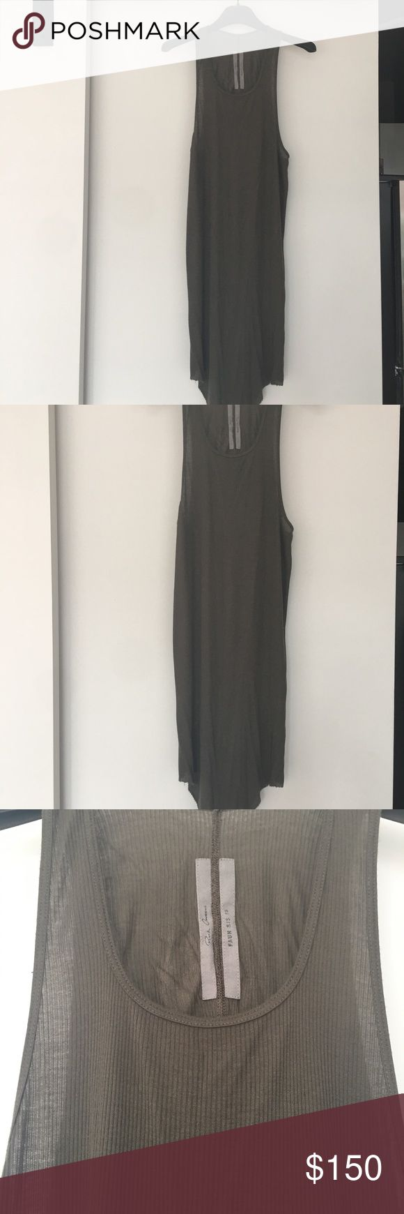 Rick Ownes men's Tank top . Size XXL . Rick Ownes men's Tank Top. Size XXL ( for small). My size is S and fit me good . Made in Italy . Khaki color. Rick Owens Shirts Tank Tops