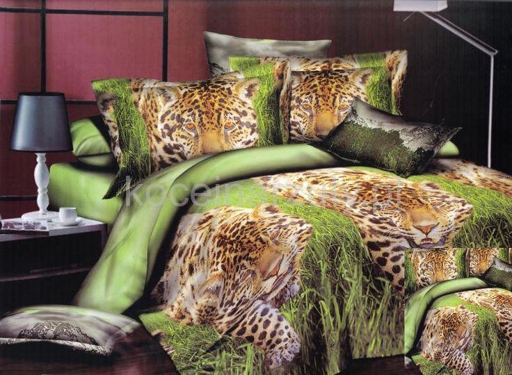 Oliwkowa pościel z satyny bawełnianej z tygrysem