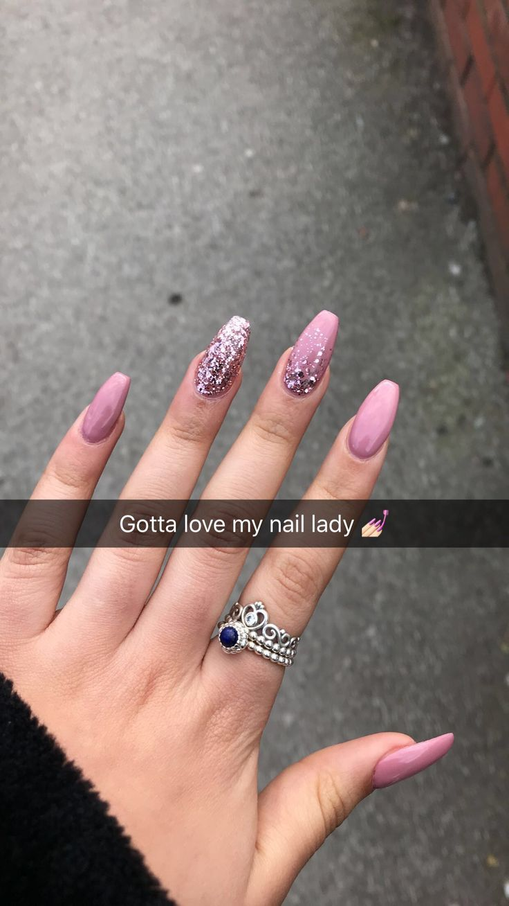 Pink Glitter Fade On Coffin Nail Nail Colors Pinterest Nails
