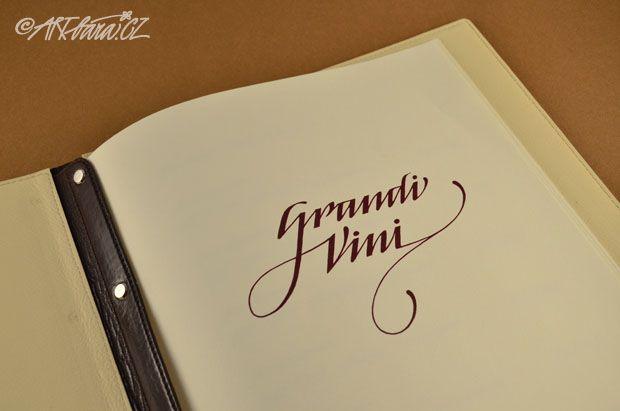 vinný lístek - logotyp – ručně psané písmo v tisku
