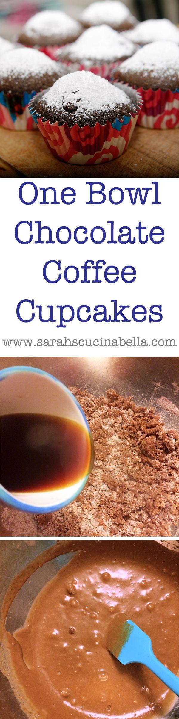 One Bowl Chocolate Coffee Cupcakes  #KACraftCoffee #sponsored