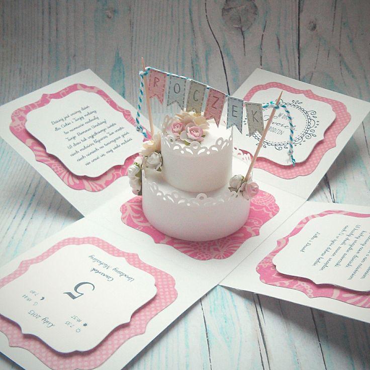 Exploding box z tortem na roczek ----- Baby girl's first year exploding box with cake