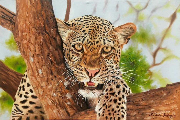 #Painting of a #leopard from the famous #Malawian #artists and brothers from the Chodola family.