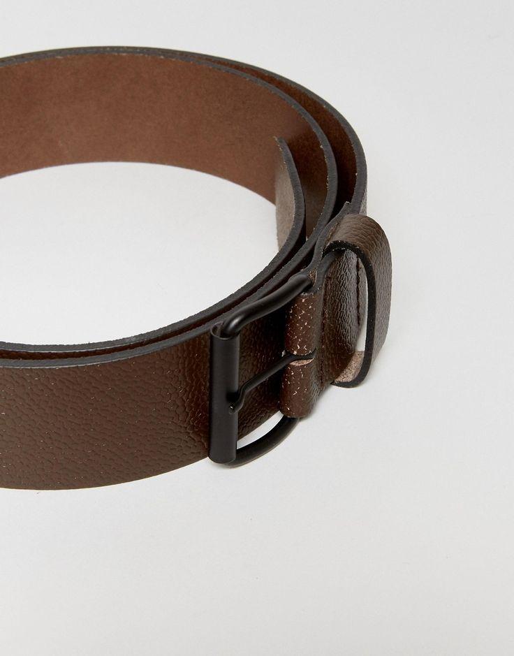 ASOS Leather Wide Belt In Brown Pebble Grain And Matte Black Roller Bu