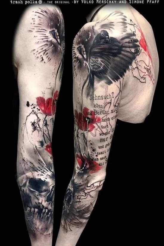 Trash Polka style poppy tattoo, artist unknown.   Poppy tattoos are extraordinary and we have found some of the most exquisite poppy tattoos ever done. Thanks for caring, thanks for sharing.