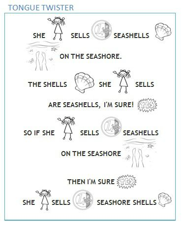 Tongue twister _ She sells seashells _ easy _ short _ kids _ english _ language _ learning