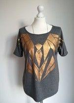 Szara  bluzka t-shirt z nadrukiem z orłem ptakiem złota złoty Milla Nowa XS/SS