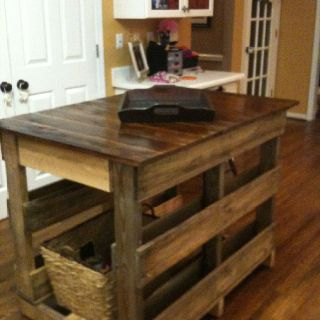 Wooden Pallet Kitchen Island -- with that stain I actually find that really pretty.