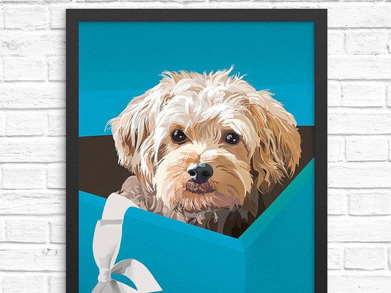 Our unframed dog art print features a dog in a box peeking out after he got caught climbing inside the gift box! Available in both 5x7 and 11x17 for easy framing (framing tips are below). This poster was designed in Albany, NY and digitally printed in Woburn, MA. Dont just favorite and forget -- treat yoself or bring a smile to the face of your loved ones by giving this art print as a gift!  To view more of our work, please visit https://greymountpress.com and follow us on Instagram...