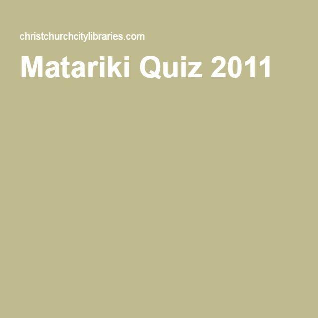 Matariki Quiz 2011