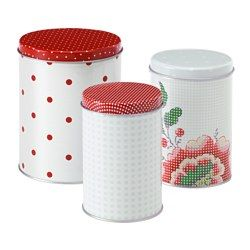IKEA - INBJUDANDE, Container with lid, set of 3, Suitable for coffee, tea and other dry food.The small sizes can be stacked into the bigger sizes to save space when storing.You can reduce your food waste by storing your dry foods in a jar with a tight-fitting lid, because it keeps the food fresh longer.