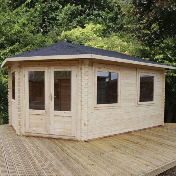 avon 5m x 3m somerset corner log cabin left sided traditional log cabins - Garden Sheds 5m X 3m