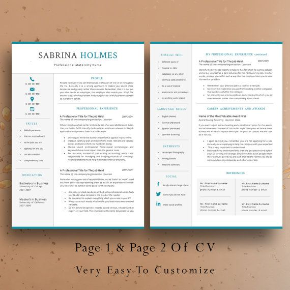 2 Page Professional Resume Template Creative Cv Template Cover Letter 2 Pages Professional Cv Nurse Template Creative Resume In 2021 Resume Template Unique Resume Template Resume Template Professional