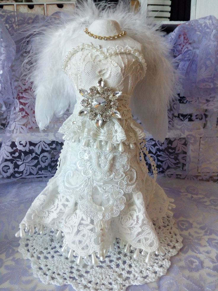 handmade shabby chic guardian angel,lace,pearls,trims,feathers,bling,craft, diy,angel