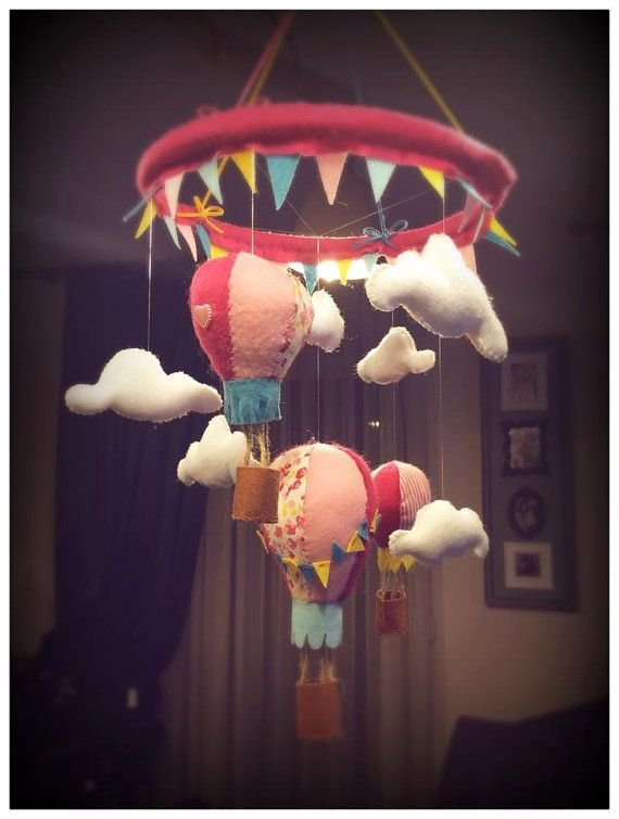 Hot air balloon baby crib mobile!    The perfect gift for a little girl! It will bring a colourful note to any nursery and the kid will love it! As