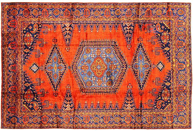 Blue and Orange Persian Rug