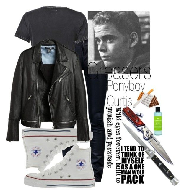 """""""greasers from <3 The Outsiders <3"""" by love-908 ❤ liked on Polyvore featuring Kill City, Superdry, Converse, Switchblade Stiletto, Ole Henriksen, acid wash shorts, snake jewelry, geometric jewelry and denim dresses"""