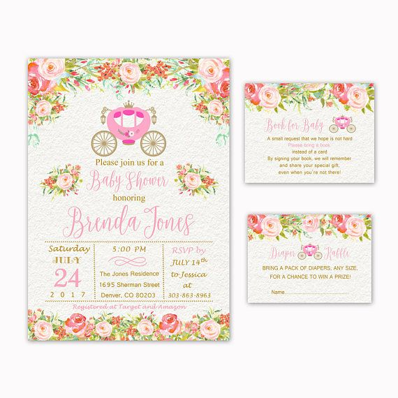 Princess Baby Shower Invitation  Book for Baby  Diaper