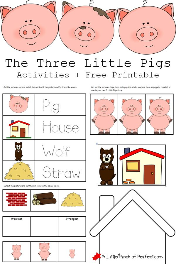 The 3 Little Pigs Activities And Free Printables (pre Writing, Sequencing,  Paper Puppets For Storytelling, And House Outline So Kids Can Create Their  Own ...