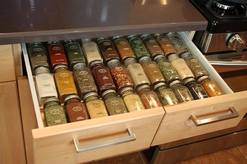 """DIY spice rack inside drawer using wood trim. A quarter round base board trim and an """"L"""" shaped corner piece. The L shaped will hold the bottom of the jar and the quarter round will cradle the neck. stagetecture.com"""