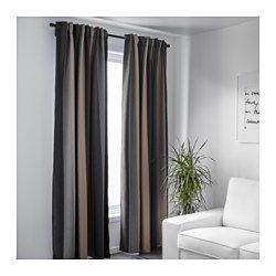 PRAKTLILJA Block-out curtains, 1 pair, grey/beige - grey/beige - IKEA