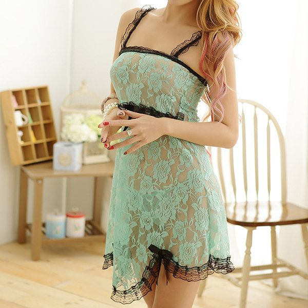 Sexy Lace Embroidery See Through Backless Babydolls Temptation Nightdress