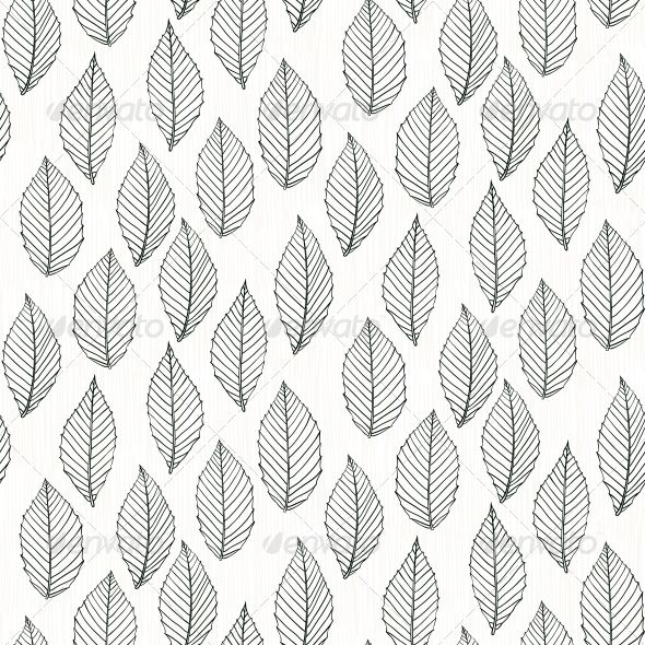Elegant Pattern with Leafs Drawn in Thin Lines - Patterns Decorative