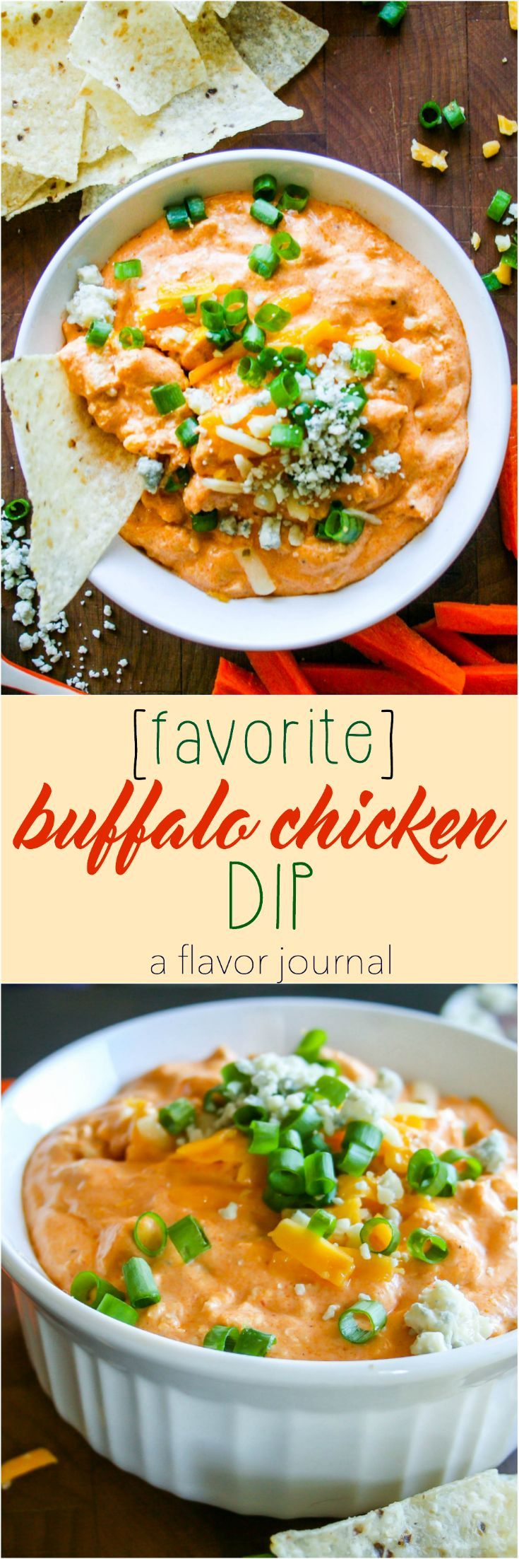 buffalo chicken dip is the PERFECT party food! this recipe is devoured in seconds. rotisserie chicken, hot sauce, cream cheese, sour cream, ranch dressing, and cheddar cheese make it perfectly blended and delicious! buffalo chicken dip | a flavor journal http://aflavorjournal.com/buffalo-chicken-dip/