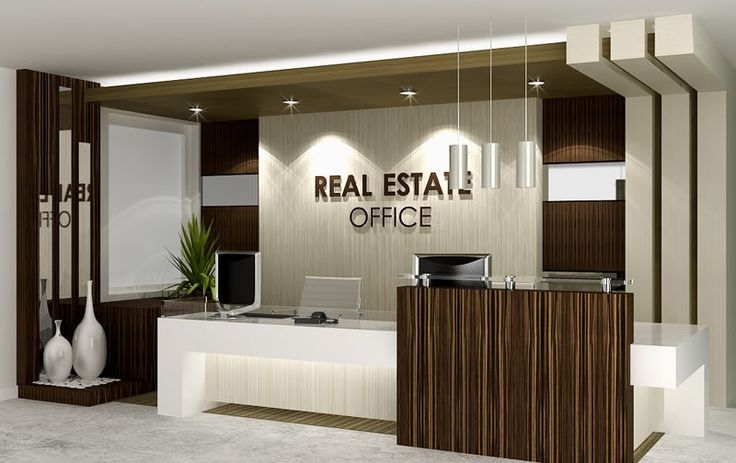 Real estate reception desk real estate office office for Modern real estate office design