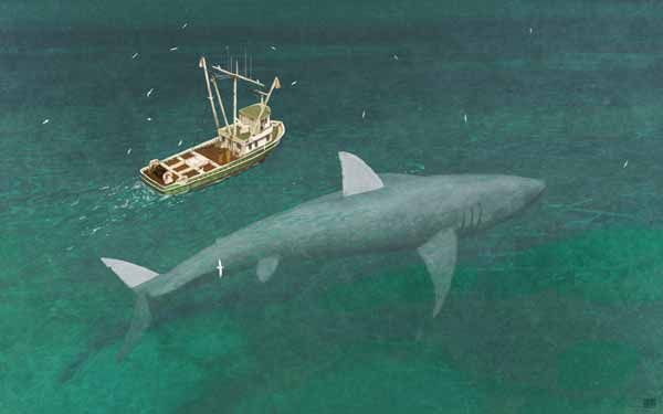 Modern-day Megalodon, by John Conway. The boat might look familiar. From the soon-to-be-published Cryptozoologicon.