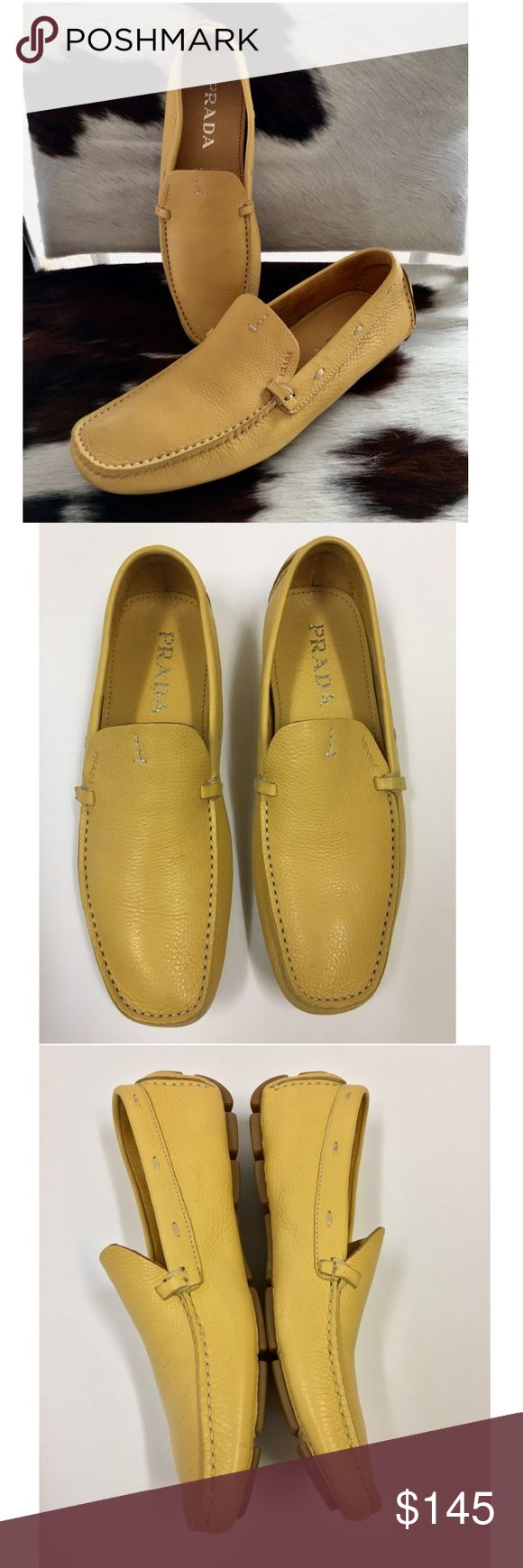 """PRADA MUSTARD LEATHER DRIVING LOAFER SIZE 361/2 Authentic Prada square-toe driving loafers with engraved logo accents at uppers, contrast stitching throughout and rubber soles.  Heels: 0.25""""  • Condition: Excellent. Minor wear on outer soles. Unnoticeable scuffs on outer shoes  • Please see all pictures and feel free to ask questions...best offer accepted Prada Shoes Flats & Loafers"""