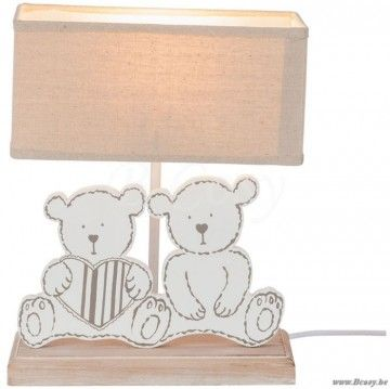 J-Line Kinderkamer lampvoet met kap rechthoekig beer hout wit-naturel e27 max 60w 31