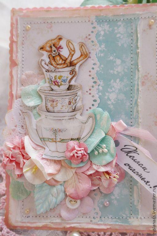 """Купить Открытка""""Желаем счастья""""в стиле Шебби шик ручной работы - розовый, открытка с цветами"""