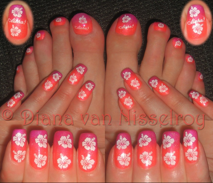 neon purple with red gradient and tropical flowers