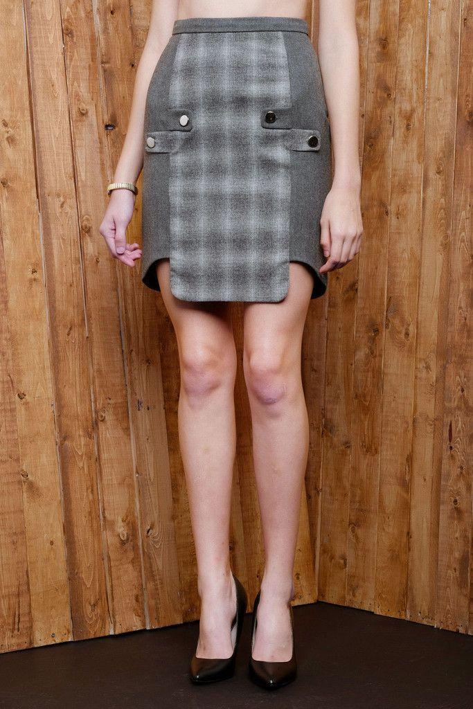Two-tone Cross Tab Wool Blend Skirt