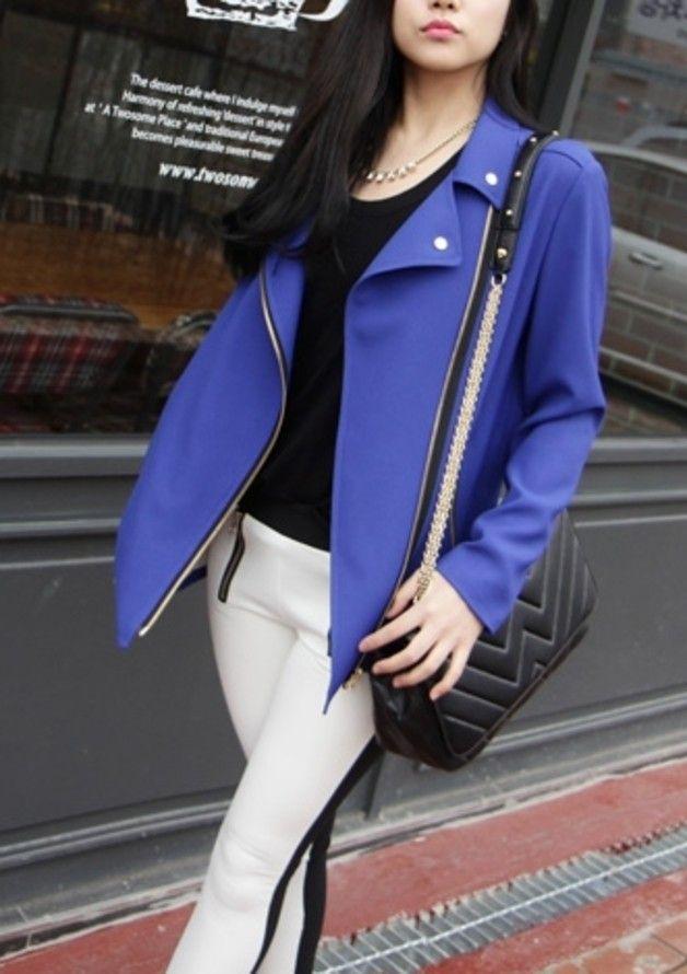 """Open front rider style zip up blazer jacket """"blue"""