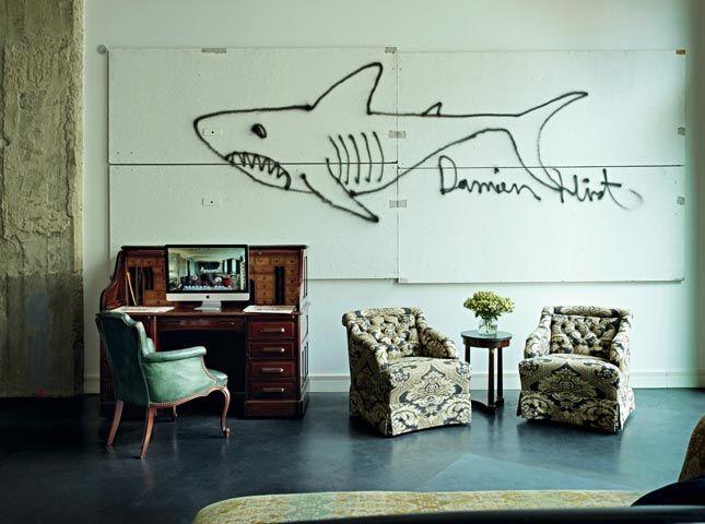damien hirst mural - soho haus berlin hotel