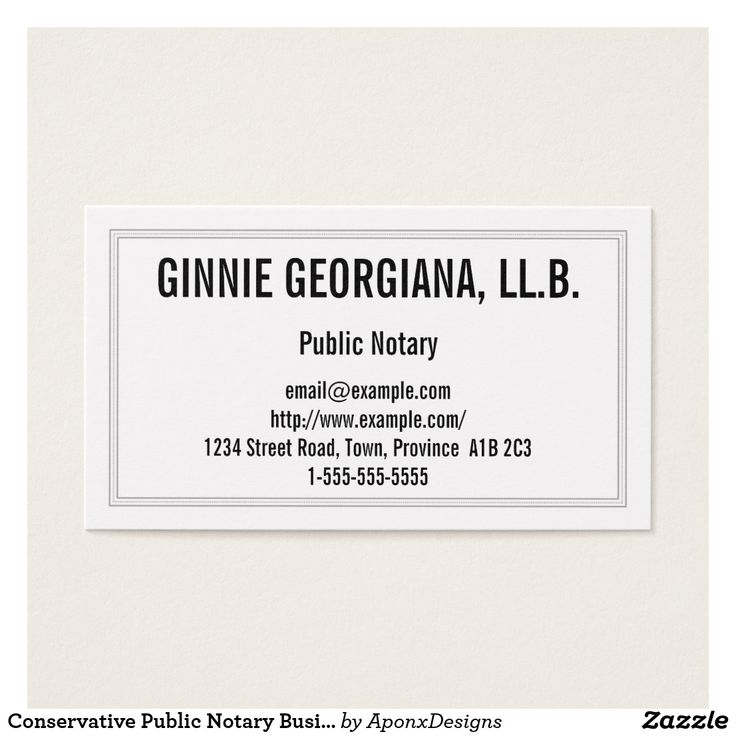 Conservative Public Notary Business Card