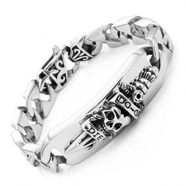 Men's Biker Style Do or Die Skull n Sword Link Bracelet Stainless Steel Silver