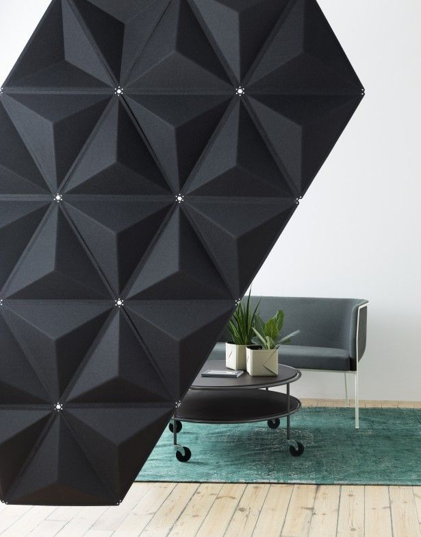 Aircone-  The modules are assembled together using small plastic clips, and each module is angled and has a tapered shape. The pattern formed by combining several modules can be varied in a virtually infinite number of ways. The angles diffuse sound waves, and the product thus helps create a better sound environment.