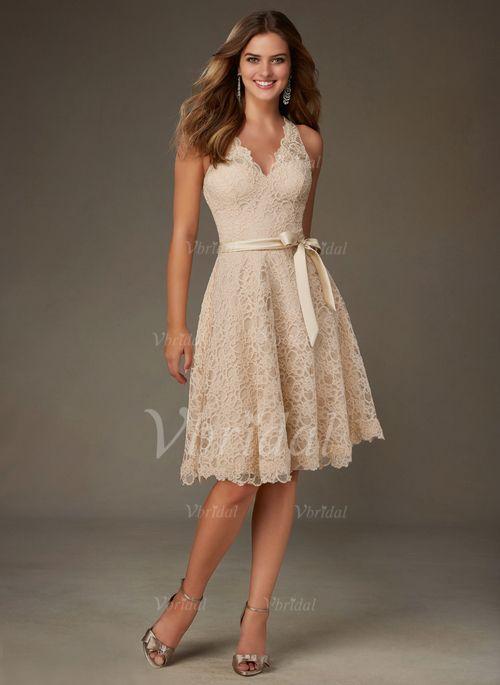 Bridesmaid Dresses - $104.00 - A-Line/Princess V-neck Knee-Length Lace Bridesmaid Dress (0075095146)