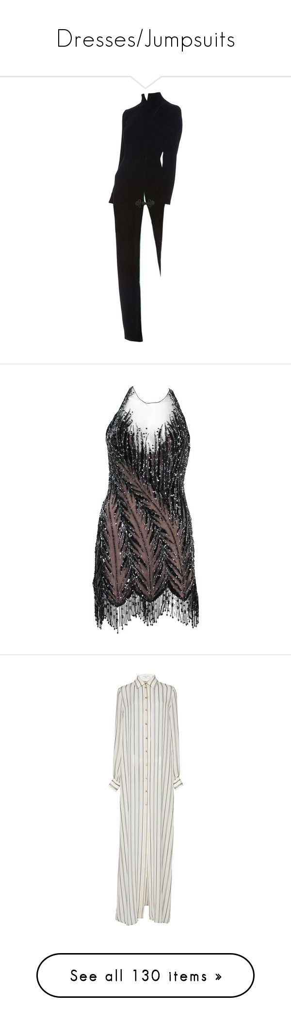 """""""Dresses/Jumpsuits"""" by bfvshionkilla ❤ liked on Polyvore featuring dresses, black, cocktail dresses, 1920s gatsby dress, fringe flapper dress, short beaded cocktail dresses, flapper dresses, gatsby dress, lanvin and stripe"""